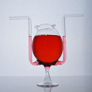 pahar sticla cu pai dublu